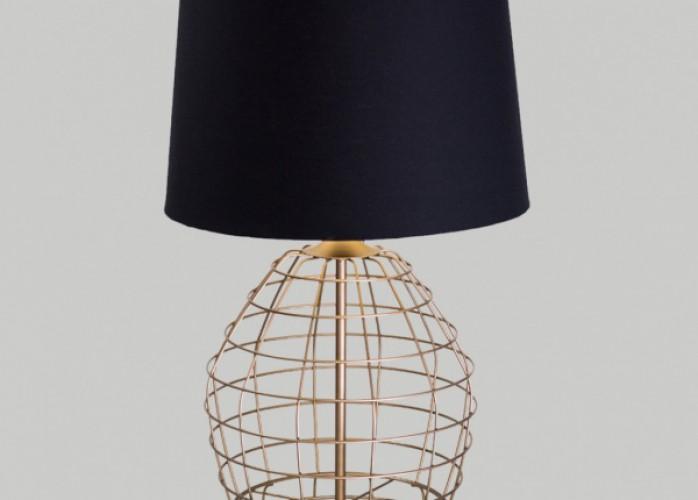 abajur aramado design moderno cúpula tecido bivolt 40cm de altura alambre golden
