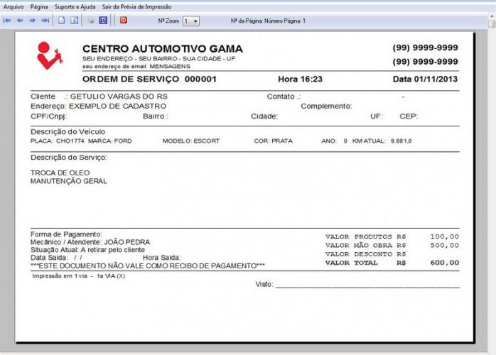 Programa Ordem de Serviço Oficina Mecânica v1.0 FPQSYSTEM