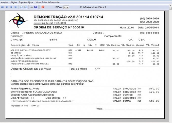 Programa OS Gráfica Rápida com Produtos e Orçamentos v2.5 FPQSYSTEM