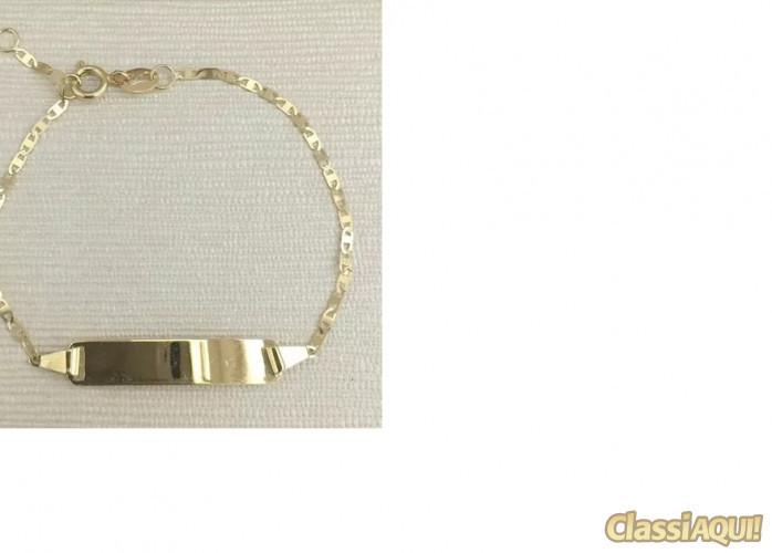 Pulseira Infantil Piastrine Chapa Em Ouro 18k -750