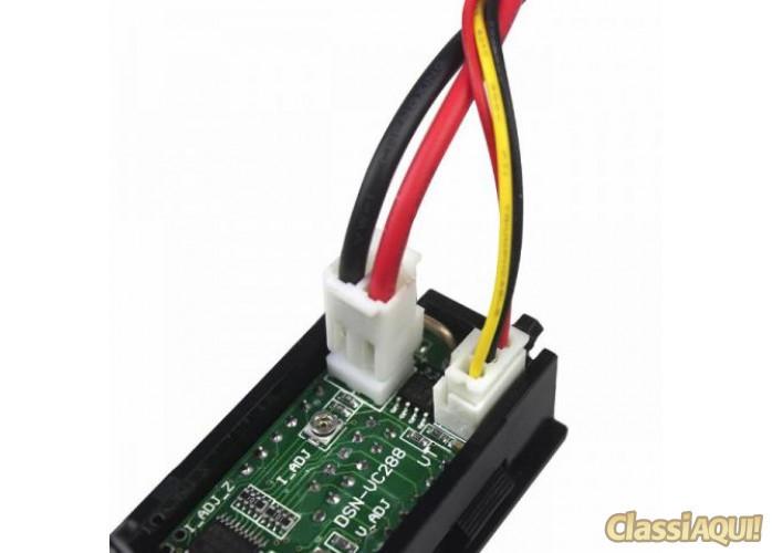 Voltímetro e Amperímetro Digitais de 0 à 100V DC e 10A para Som Bateria Carro