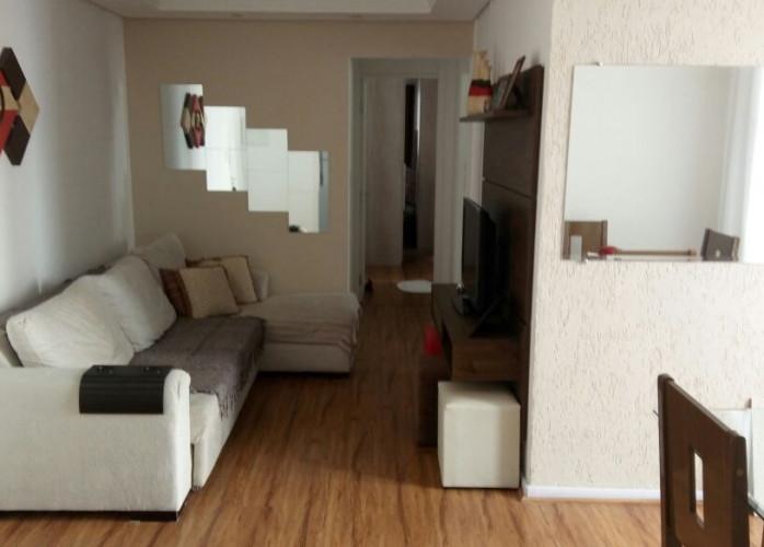 Apartamento 2 Dormitórios 64 m² no Park Club, Bairro Jardim - Santo André.  Sala 2 ambientes decorada com sanca em gesso