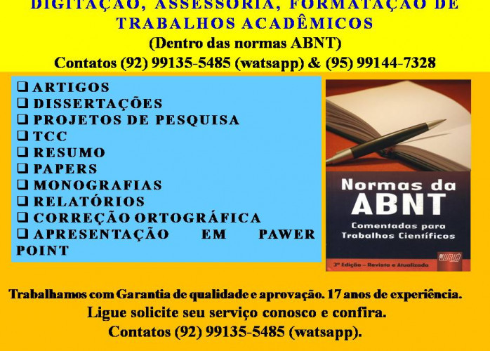 DIGITAÇÃO, ASSESSORIA, FORMATAÇÃO DE TRABALHOS ACADÊMICOS