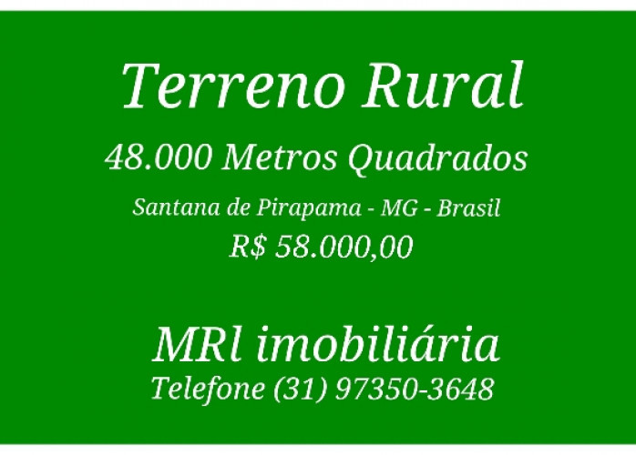 Terreno Rural 48.000 Mts Quadrados, Santana de Pirapama - MG