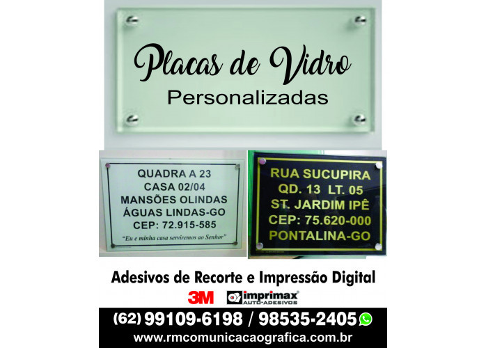 Placas de Vidro Personalizada