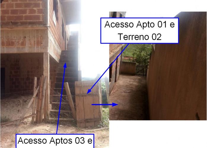 02 Terrenos + Edifício inacabado com 3 pavimentos e 4 apartamentos. MG