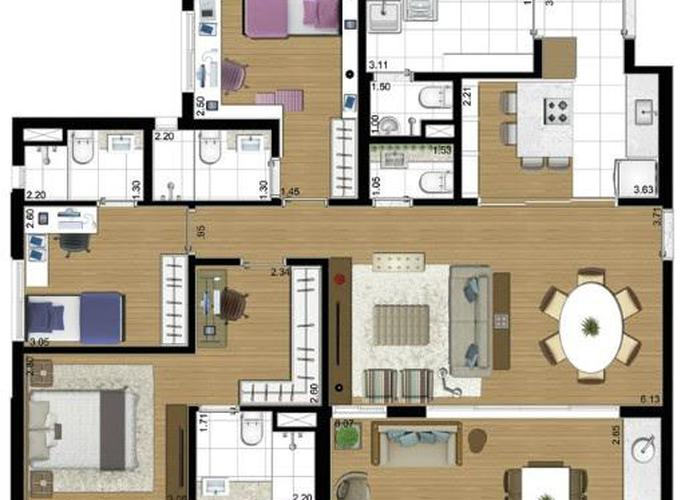 Apartamento em Vila Firmiano Pinto/SP de 125m² 3 quartos a venda por R$ 1.139.000,00