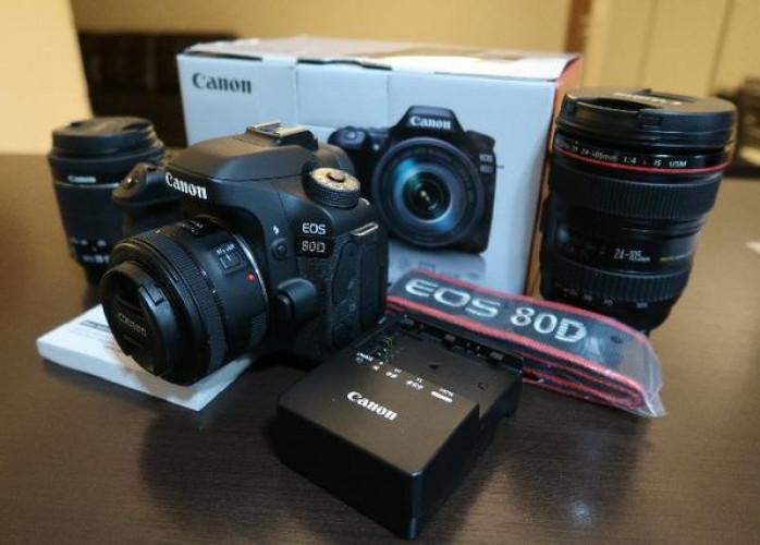 Câmera Canon EOS 80D completa com Lente 18-135 mm inclusa