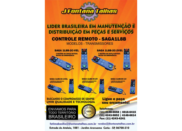 Controle Saga 1L8B Rádio Controle Remoto J Fontana Talhas