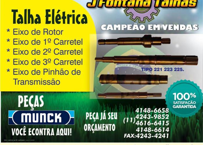 Eixos de Talhas Elétricas de Marca MUNCK - Eixo de Rotor - Nornal ou Prolongado MF