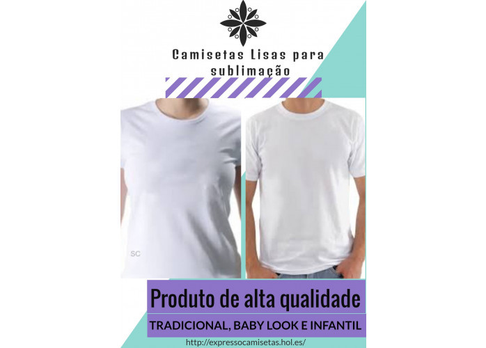 Camisetas lisa 100% Poliéster para sublimar
