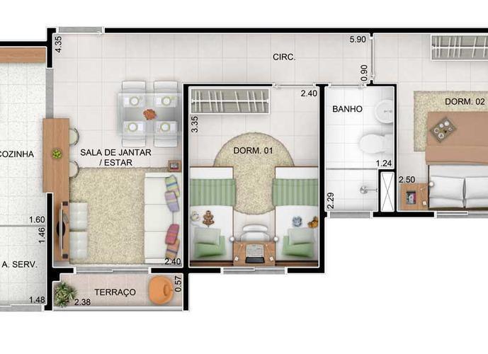 Apartamento em Cidade Ocian/SP de 47m² 2 quartos a venda por R$ 175.000,00