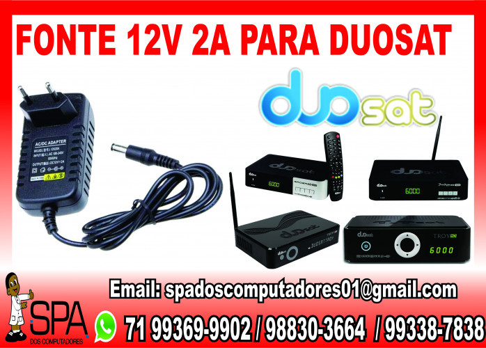 Fonte Nova de energia 12v-2a para Aparelho DuoSat em Salvador Ba