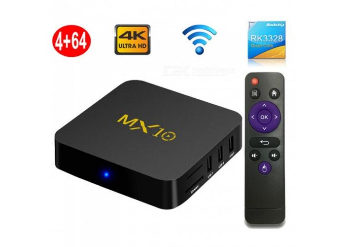 MX10 Caixa De TV Inteligente, Android 8.1 RK3328 Quad-core 4k HD Wi-fi USB3.0 Set-top Box Media Player Com 4 GB De RAM,