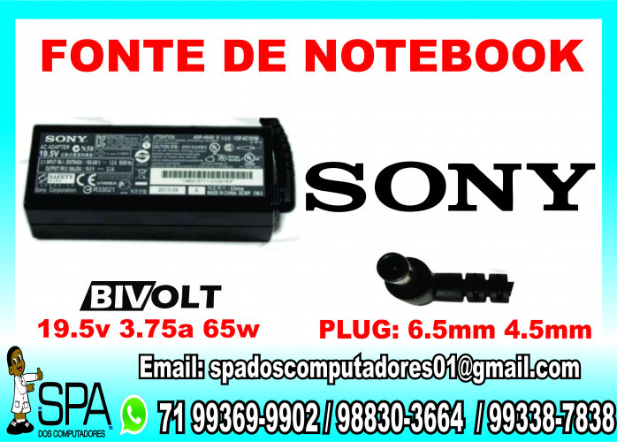 Fonte Carregador Notebook Sony Vaio PCG-FR105 Salvador Ba
