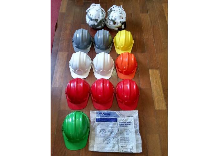 Acessórios de segurança do trabalho lote Capacetes, abafadores auditivos, óculos e luvas novos