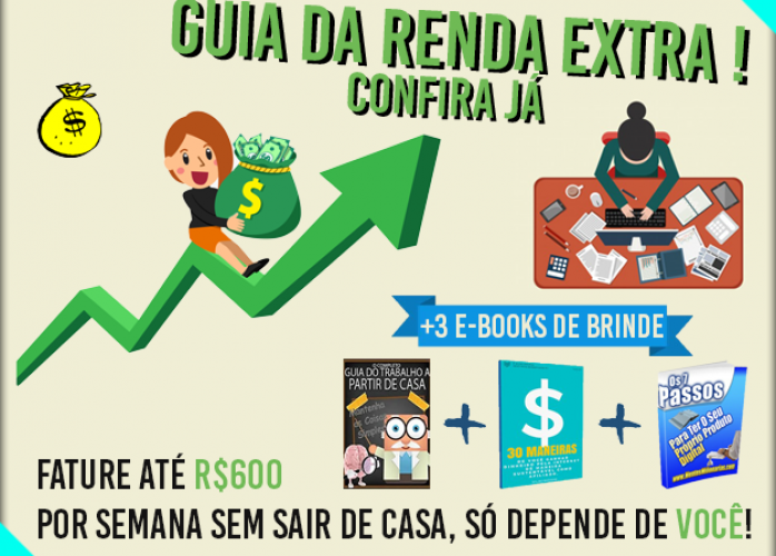 O Guia da Renda Extra - Invista Somente R$15 e Ganhe até R$2400 Mensais + 3 E-Books Confira Já!
