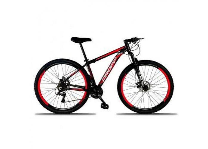 Bicicleta Aro 29 Dropp Alumínio Quadro 19 21v Câmbio IMP Freio a Disco Mecânico com Suspensão - Dropp bikes Preto/Verm