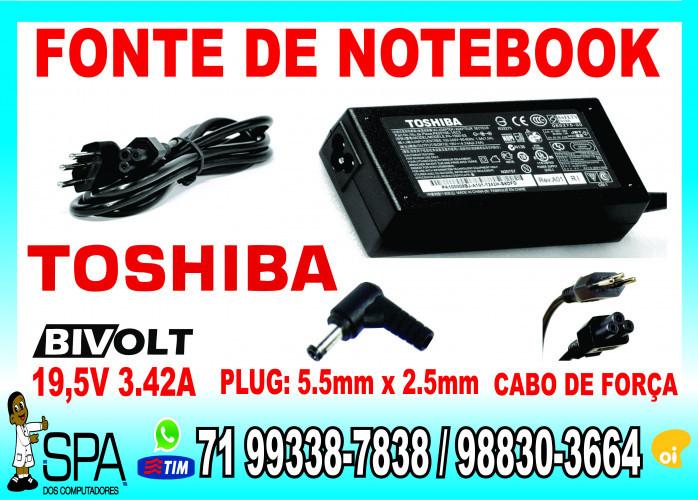 Fonte Carregador Notebook e Netbook Toshiba 19v 3.42a em Salvador Ba