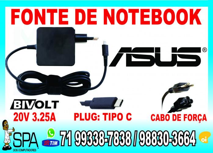 Carregador Notebook Ultrabook Tablet Usb-C Asus 20V 3.25A Plug Tipo C em Salvador Ba