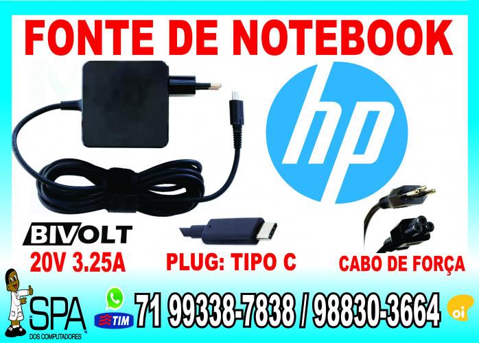 Carregador Notebook Ultrabook Tablet Usb-C HP 20V 3.25A Plug Tipo C em Salvador Ba