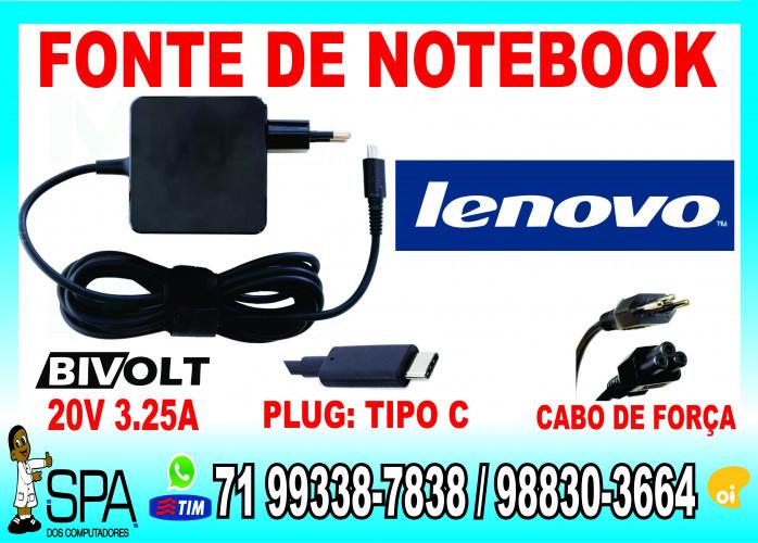 Carregador Notebook Ultrabook Tablet Usb-C Lenovo 20V 3.25A Plug Tipo C em Salvador Ba