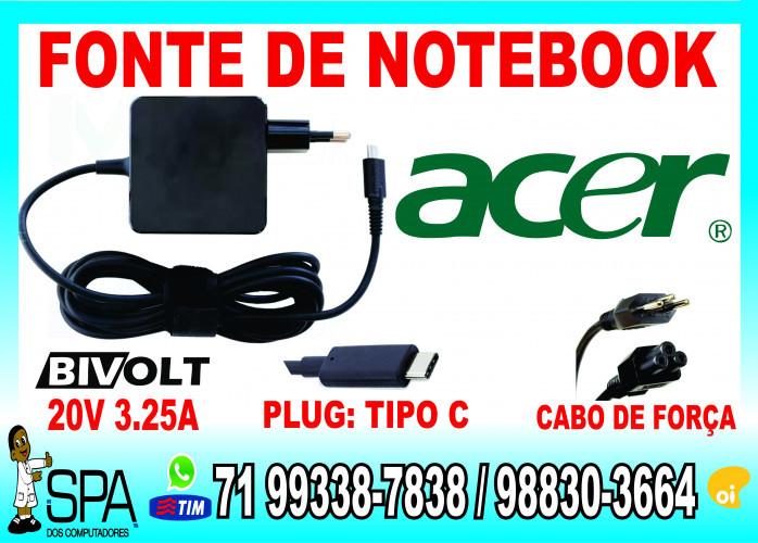 Fonte Carregador Para Notebook Ultrabook e Tablet Usb-C Acer 20V 3.25A Plug Tipo C em Salvador Ba