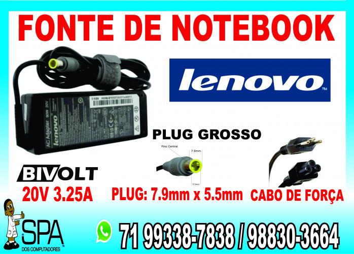 Fonte Carregador Notebook e Netbook Lenovo 20v 3.25a 65w Pino Usb em Salvador Ba