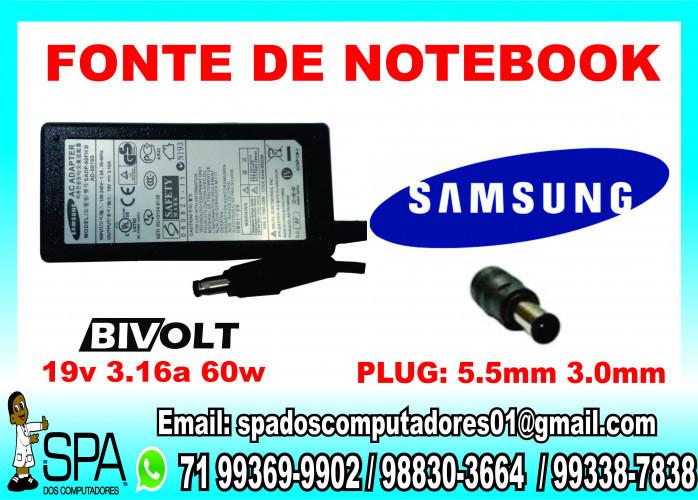Fonte Carregador Notebook e Netbook Samsung 19v 3.16a 65w 5.5mm x 3.0mm em Salvador BA