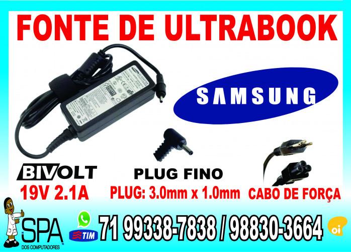 Fonte Carregador Para Notebook e Ultrabook Samsung 19V 2.1A 40w Plug Fino 3.0mm x 1.0mm em Salvador Ba