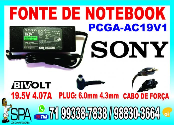 Fonte Carregador Para Notebook Sony PCGA-AC19V1 19.5V 4.07A Plug 6.0mm x 4.3mm em Camaçari Ba