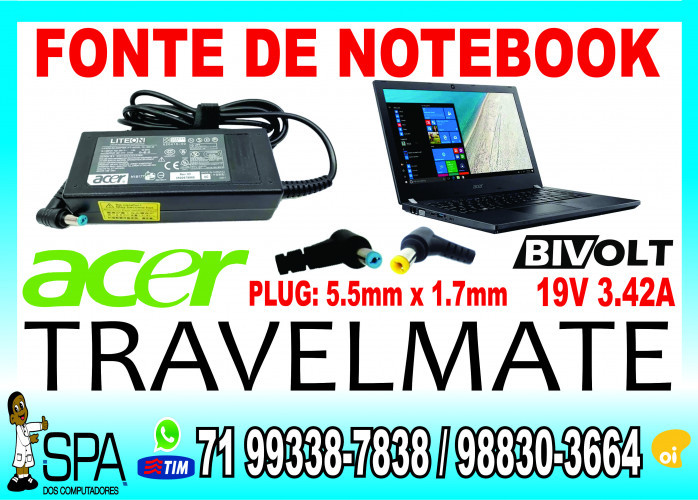Carregador Notebook Acer Extensa 19v 3.42a 5.5mm x 1.7mm