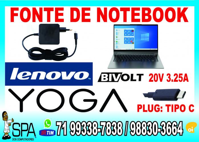Carregador Notebook Lenovo Plug Tipo C Yoga 20v 3.25a