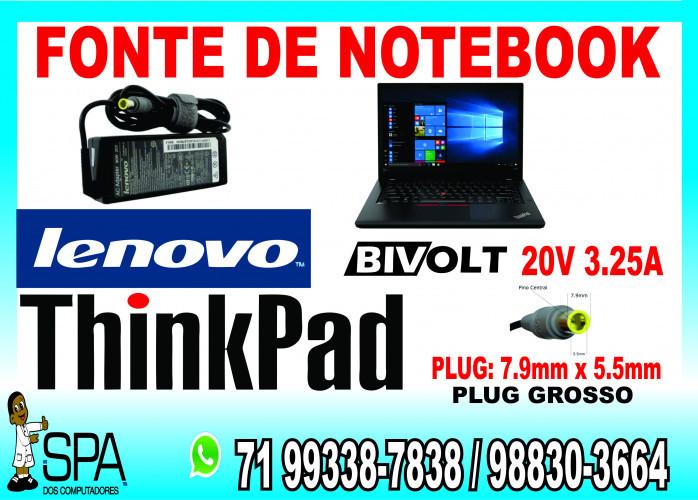 Carregador Notebook Lenovo Thinkpad 20V 3.25A Plug Grosso 7.9mm x 5.5mm