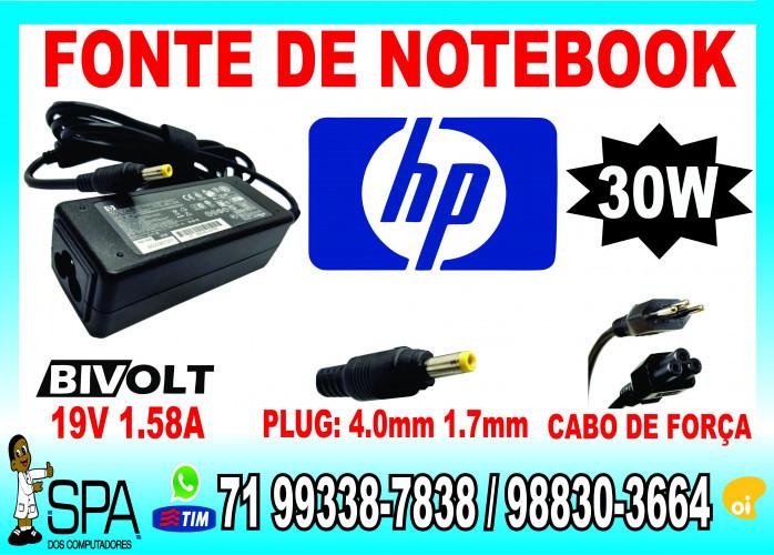 Carregador Notebook Hp Mini 19.5V 1.58A 30w Plug Amarelo 4.0mm x 1.7mm em Salvador Ba