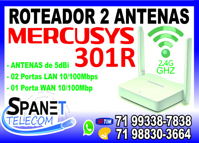 Roteador Mercusys MW301R Wireless 2.4 Ghz (2 Antenas) em Salvador Ba