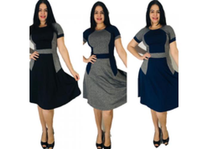 Vestido Midi Godê Suplex kit 3 Peças
