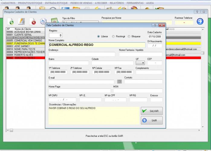 Programa Controle de Estoque e Pedido de Vendas v1.0 - FpqSystem