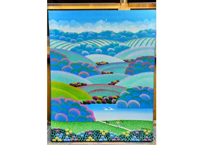 Robson barros artista naif tema paisagem campestre medida 40x50