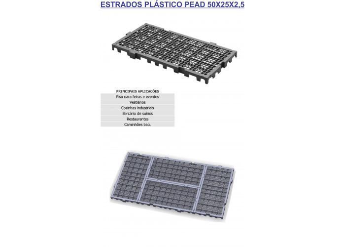 Estrados piso plastico 50x25x2,5 cor preto